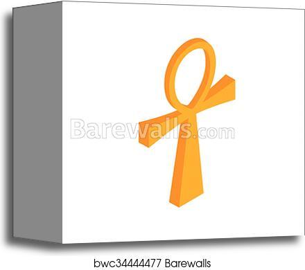 canvas print of gold ankh egypt icon isometric 3d style barewalls