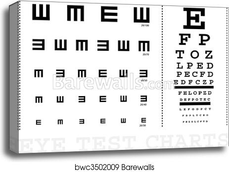 Canvas Print Of Vector Snellen Eye Test Charts For Children And