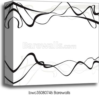 Abstract Art Design Abstract Background With Curvy Curved Lines Wave Gray Shapes Canvas Print