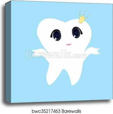 graphic relating to Tooth Fairy Card Printable called Lovable cartoon enamel smiling, Card tiny satisfied Enamel Fairy, white upon a blue heritage, tooth vector icon case in point, to start with enamel emblem canvas print