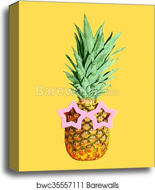 e28a4b15d5a6 Pineapple with sunglasses on yellow background, colorful ananas, Canvas  Print