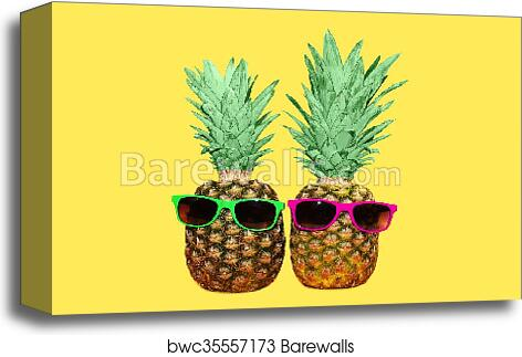 26ee6d35fe57 Two pineapple with sunglasses on yellow background, colorful ananas photo, Canvas  Print