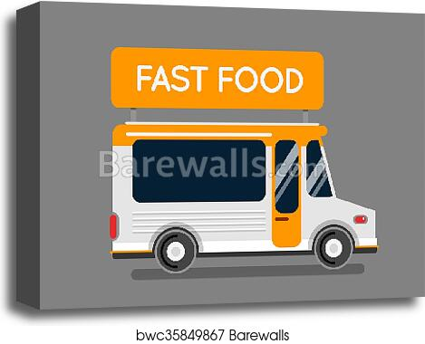 Fast Food Truck City Car Food Hipster Truck Auto Cafe Mobile Kitchen Hot Fast Food Vegetables Design Elements Isolated On White Street Food