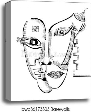 Hand Drawing Faces In Cubism Style Canvas Print