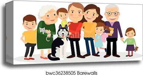 Cartoon Family Portrait Canvas Print Barewalls Posters Prints Bwc36238505