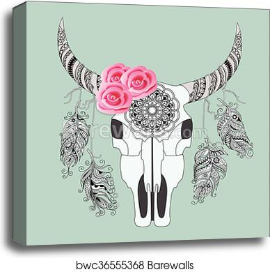 boho card with cow skull and rouses, canvas print