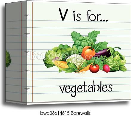 canvas print of flashcard letter v is for vegetables | barewalls