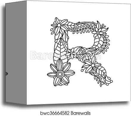 Letter R Coloring Book For Adults Vector Canvas Print Barewalls Posters Prints Bwc36664582