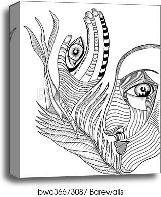 Abstract Surreal Face And Hand With Mehndi Tattoo Hand Drawing Vector Template Can Use For Posters Cards Stickers Illustrations T Shirt Art As