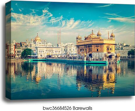 /' Golden Temple In Amritsar Punjab India /' Cityscape Canvas Print Wall Deco