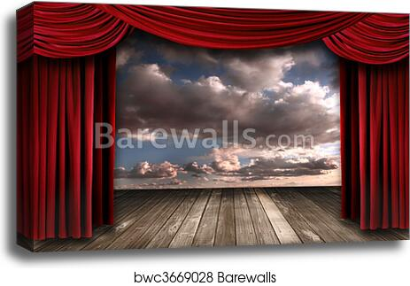 Indoor Perormance Stage With Red Velvet Theater Curtains Canvas