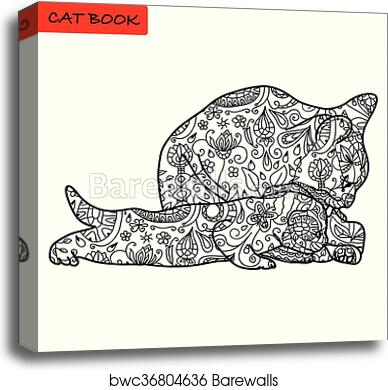 Cat Mother And Her Funny Kitten - Coloring Book For Adults - Cat Book, Hand  Drawn Vector Illustration With Patterns, Canvas Print Barewalls Posters &  Prints Bwc36804636