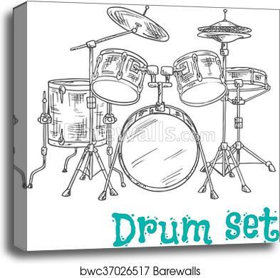 Canvas Print Of Five Piece Drum Kit Sketch Icon Barewalls Posters