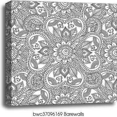 Canvas Print of Coloring pages for adults. Seamles Henna Mehndi ...