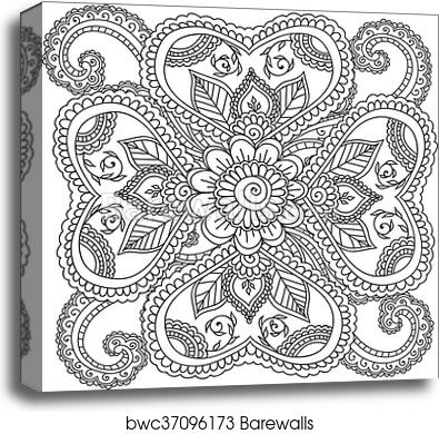 coloring pages for adults henna mehndi doodles abstract floral elements canvas print