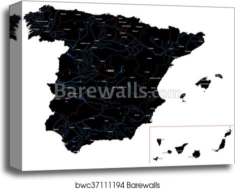Map Of Spain For Printing.Map Of Spain Canvas Print