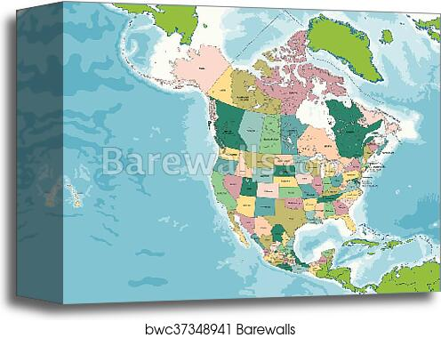 Map Of Usa And Canada And Mexico.Canvas Print Of North America Map With Usa Canada And Mexico