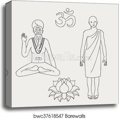Outline Yoga Meditating Sadhu Logo Asia Hinduism Monk India