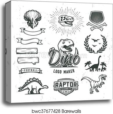 canvas print of dino logo maker set dinosaur logotype creator
