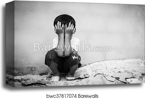 Sad Boy Sitting Alone Concept For Bullying Depression Stress Or Frustration Vintage Tone Canvas Print Barewalls Posters Prints Bwc37817074