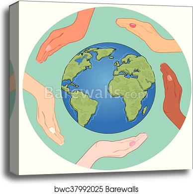 Canvas Print Of Conceptual Symbol Of Earth Globe With Multiracial