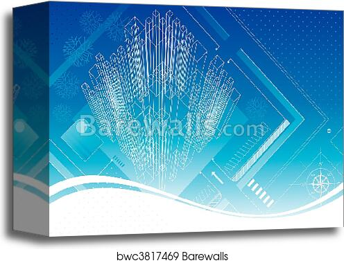 Canvas print of structure blueprint barewalls posters prints canvas print of structure blueprint malvernweather Image collections