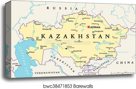 Kazakhstan Political Map.Canvas Print Of Kazakhstan Political Map Barewalls Posters
