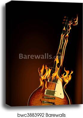 FLAMED GUITAR CANVAS WALL ART