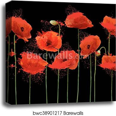 Abstract Background With Red Poppies Flowers Vector Canvas Print