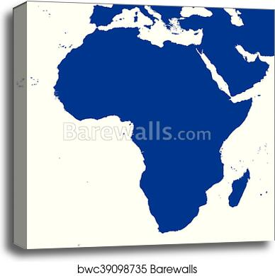 Map Of Africa Political.Africa Political Map Silhouette Canvas Print