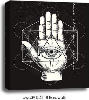 Canvas Print Of Hipster Illustration With Sacred Geometry Hand And