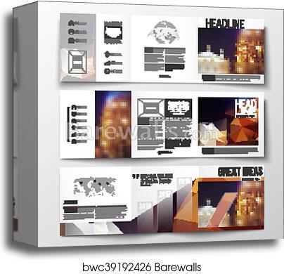 Set of tri-fold brochures, square design templates  Colorful polygonal  background, blurred image, night city landscape, festive cityscape,  triangular