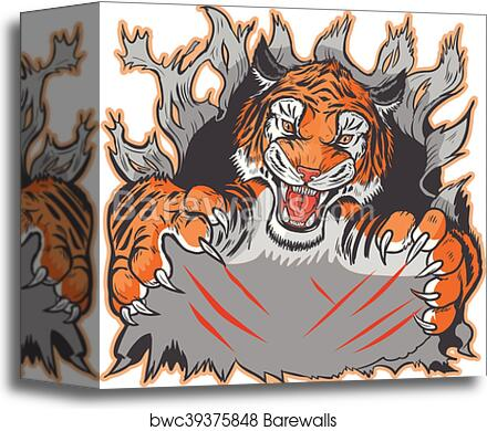 Canvas Print Of Tiger Mascot Ripping Out Template Barewalls