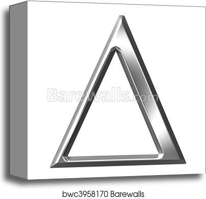 3D Silver Greek Letter Delta, Canvas Print