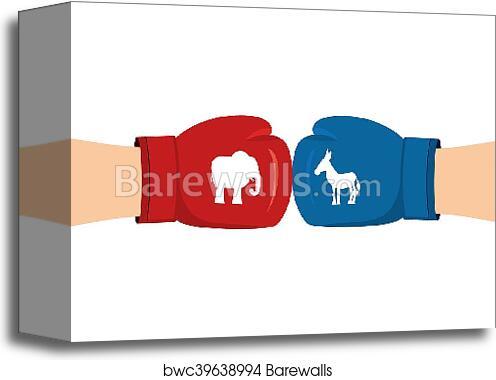 Canvas Print Of Elephant And Donkey Boxing Gloves Symbols Of Usa