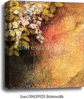 """Floral Painting Canvas Picture Red White Grunge 20x20/"""""""