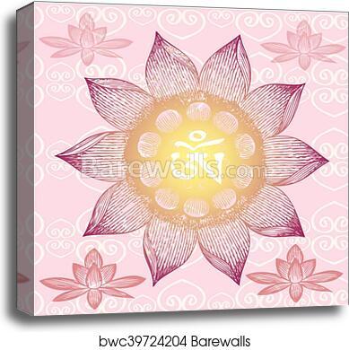 Om Design Lotus Flower Canvas Print Barewalls Posters Prints