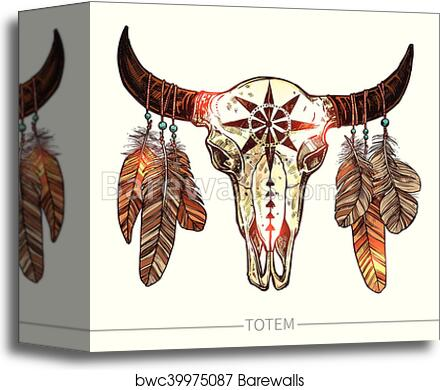 Sketch Buffalo Skull With Feathers Canvas Print Barewalls Posters Prints Bwc39975087
