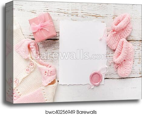 8c054d5a75ee Baby girl clothes, blank card with wax seal and small present box on white  wooden background. Flat lay. Owerhad view, Canvas Print
