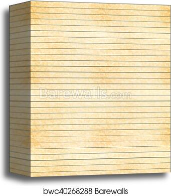 canvas print of a4 size yellow sheet of old paper with one