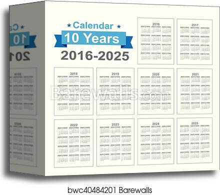 2016 2022 2023 Calendar.2016 2025 Calendar Black Text On A White Background Vector Illustration Eps10 Canvas Print Barewalls Posters Prints Bwc40484201