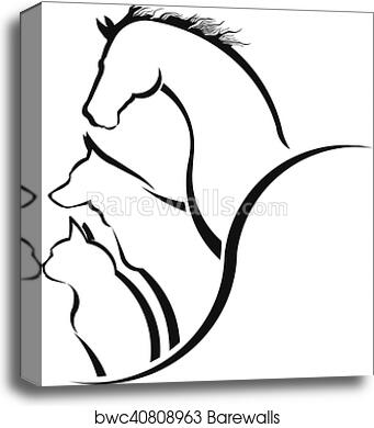 Image of: Art Canvas Print Of Veterinarian Care Horsedog And Cat Together Friendly Pets Veterinarian Business Animal Welfareanimal Rescueanimal Breeder Shutterstock Canvas Print Of Veterinarian Care Horsedog And Cat Together