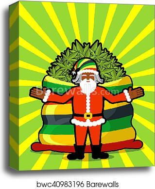 Rasta Santa Claus wishes  Big Red sack hemp  Bag of marijuana  Pile of  green cannabis  Smoking drug  Cheerful grandfather with dreadlocks and
