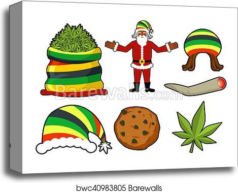 Rasta Christmas icons set  Santa Claus and Big sack hemp  bag of marijuana   pile of green cannabis  Large joint or spliff  Smoking dope  Cheerful