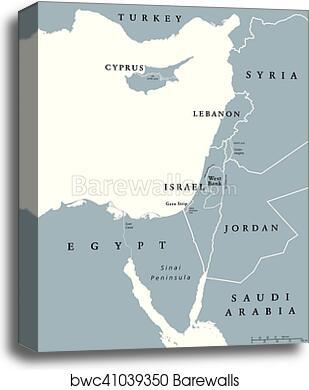 Mediterranean Political Map.Canvas Print Of Eastern Mediterranean Countries Political Map