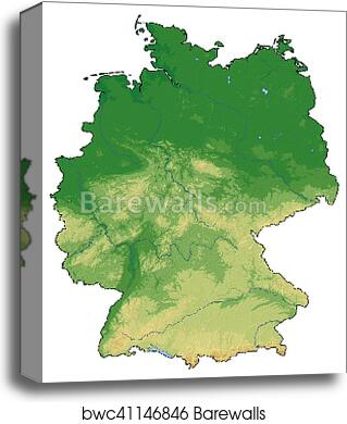 Map Of Germany To Print.Relief Map Germany 3d Rendering Canvas Print