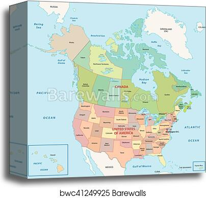 North america map canvas print