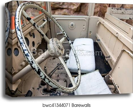 Interior of Old Military Vehicle canvas print