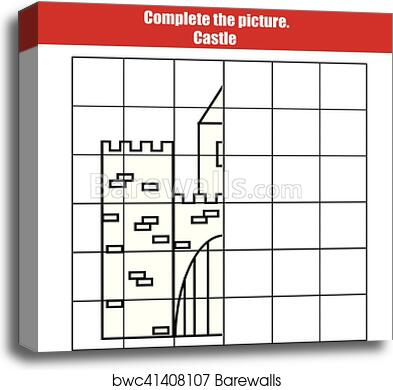 graphic relating to Printable Kids Game known as Grid reproduction recreation, in depth the visualize young children. Printable Small children game sheet with castle canvas print