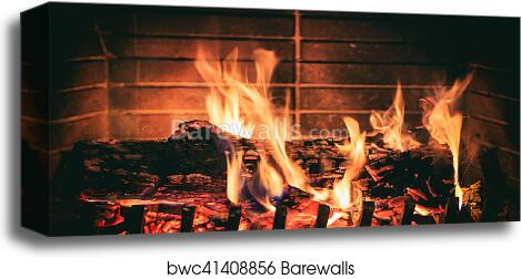 Logs Burning In A Fireplace Canvas